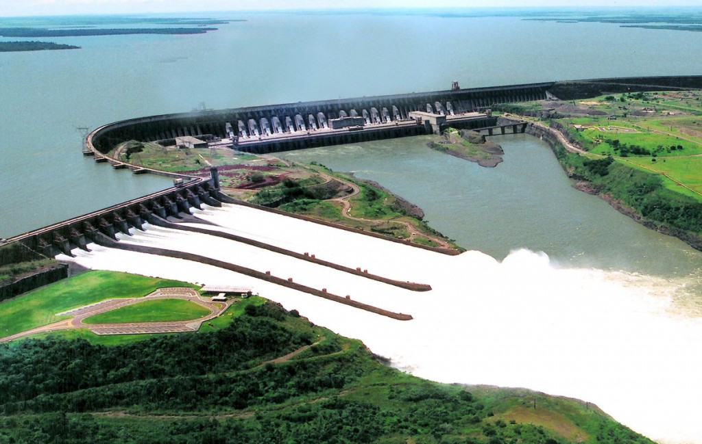 Itaipu Dam from above in Brazil